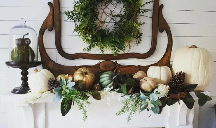 Stunning fall mantel decorating ideas faux pumpkins wreath ideas salvaged mirror