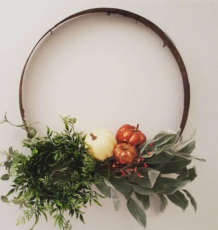 Fall wreath fixer upper style hoop wreath fall decorating ideas farmhouse style