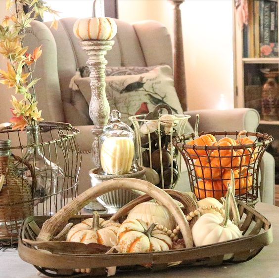 beautiful neutral home decor with pops of fall color fall decorating ideas cottage style farmhouse style