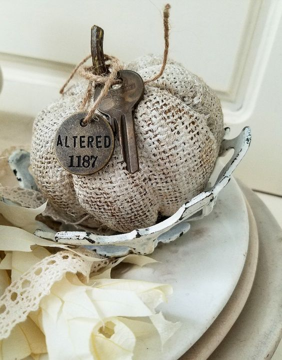 Gorgeous brocante altered shabby chic farmhouse pumpkin burlap painted pumpkins with vintage key altered pumpkin