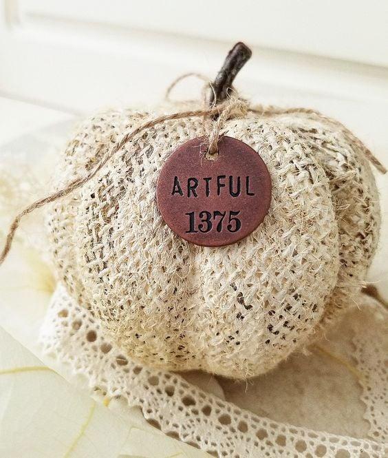 Beautiful Artful charm diy chalk painted burlap pumpkin shabby chic fall decor