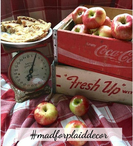 vintage soda crates apples vintage scale red plaid picnic