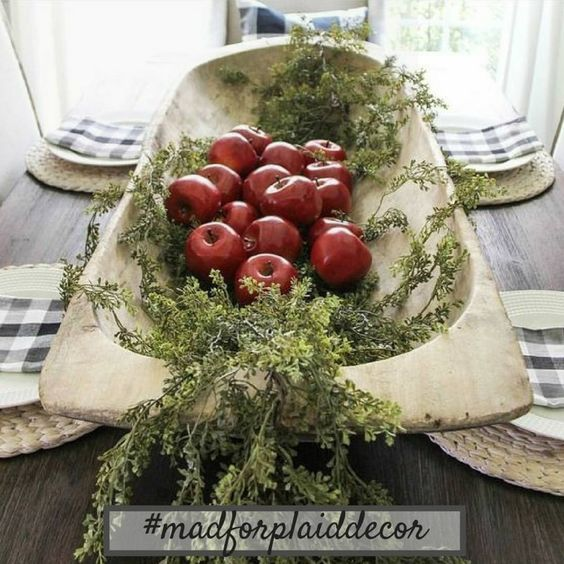 dough bowl with appples beautiful early fall table centerpiece buffalo checks