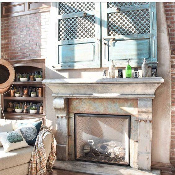 gorgeous fireplace plaid throw brick wall vintage seltzer bottles