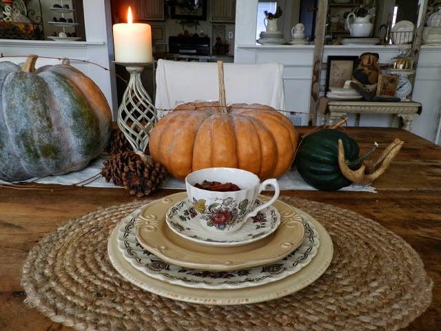 Gorgeous farmhouse cottage fall decor heirloom pumpkins vintage teacups