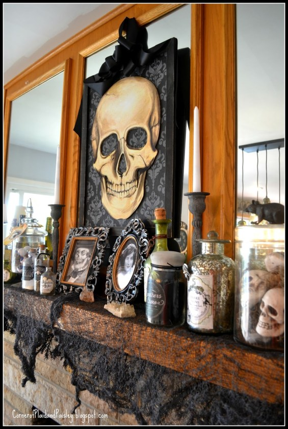 Hauntingly Beautiful Decor Link Party elegant Halloween decor Halloween Mantel Halloween Decor ideas halloween potions