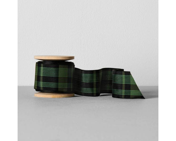 Magnolia Hearth And Hand Green And Black Plaid Ribbon