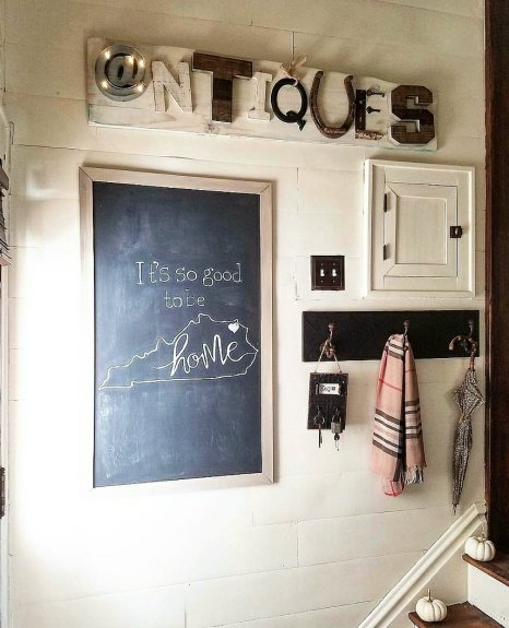 Cute entry way with faux shiplap and chalkboard