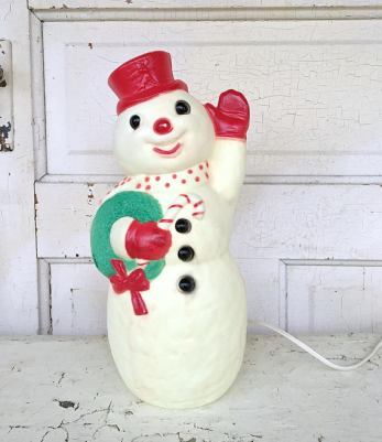 Decorate for winter witha vintage blowmold snowman