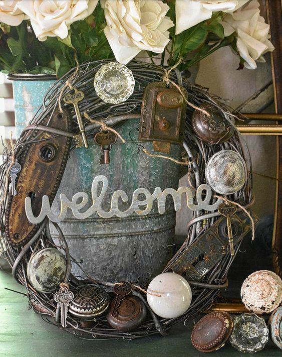 Unique handmade vintage door knob wreath shabby chic vintage style wreath
