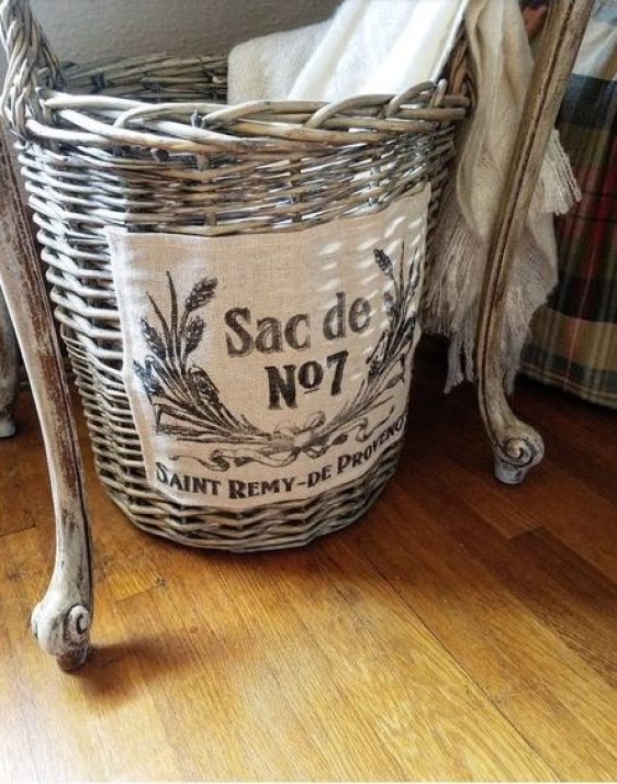 French Basket under night stand to hold extra blankets and throws