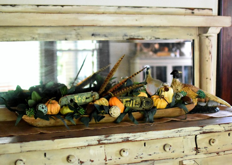 yellow fall decor green fall decor fall dough bowl display pheasants #farmhousefalldecoratingideas vintage fall decor