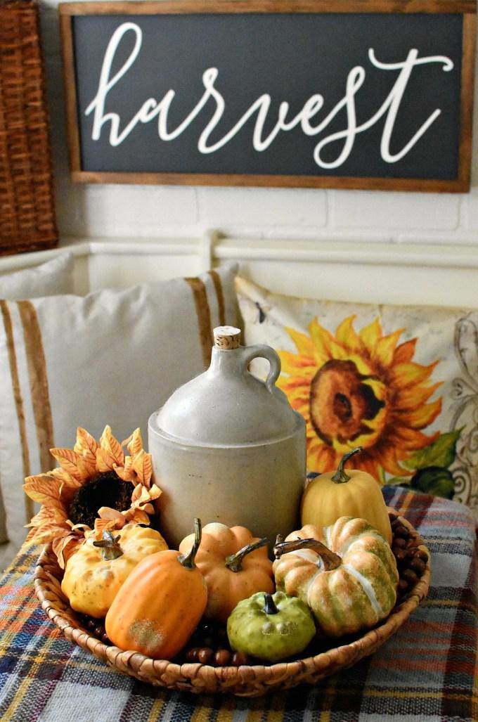 farmhouse fall kitchen decor farmhouse sign Harvest Sign Antique Farmhouse Faux Pumpkins sunflowers