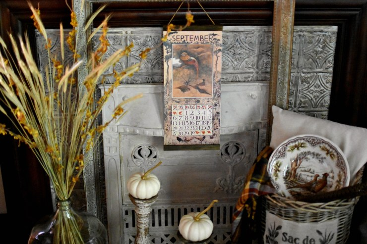 Beautiful shabby vintage fall home tour with French Country and farmhouse style decor wheat in demijohn pheasant bowl