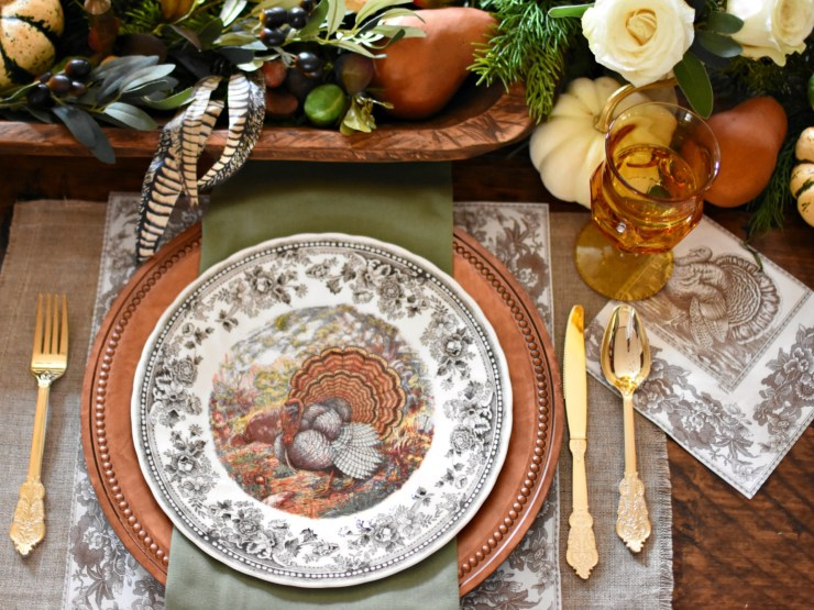Autumn Elegance Thanksgiving Tablescape Queen's Majestic Turkey Dishes French Country Thanksgiving Tablescape