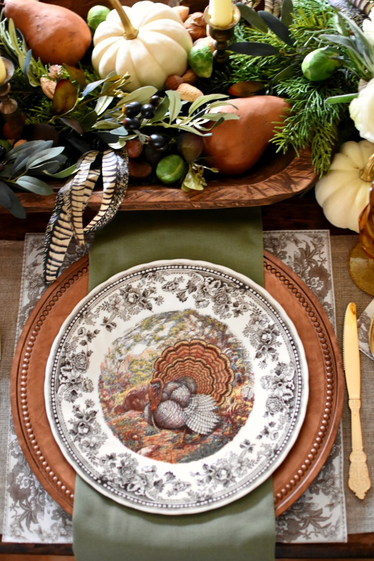 Autumn Elegance Thanksgiving Table Setting with Queen's Majestic turkey dishes and copper chargers