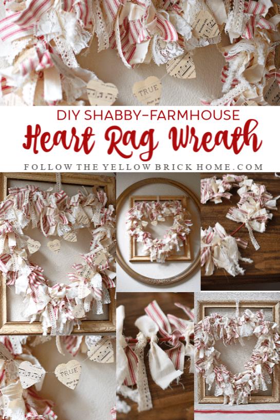 DIY Shabby Farmhouse Heart Rag Wreath Red Ticking Stripe Rag Wreath for Valentine's Day