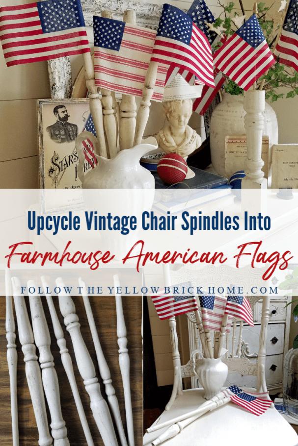 DIY Farmhouse American Flags using vintage chair spindles upcyled chair spindle American Flags
