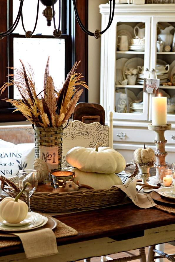 neutral fall tablescape rustic fall farmhouse tablescape white pumpkins neutral Thanksgiving tablescape