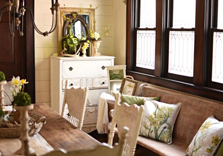 Spring home tour pretty daffodil pillows on antique church pew shabby farmhouse decor