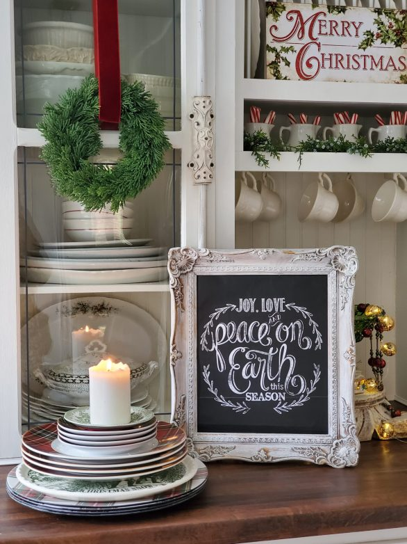 Christmas chalkboard made from a chalkboard gift bag