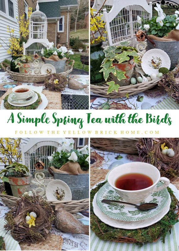 Spring tablescape with forsythia, ivy, birds, bird nests, bird's eggs Spring Tablescape