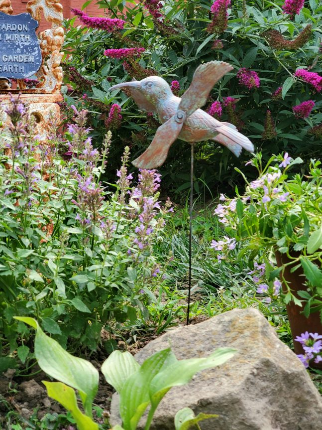 hummingbird garden stake in hummingbird garden hummingbird mint DIY faux copper garden stake