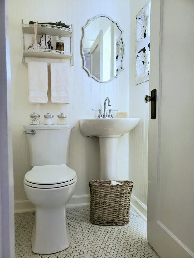 small bathroom ideas white powder room French farmhouse vintage bathroom ideas