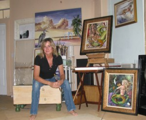 About the artist. picture of Martha Dodd in her studio.