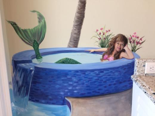 Tropical Bathroom Mural with mermaid in hot tub