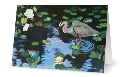 Heron Fishing Blank Notecards
