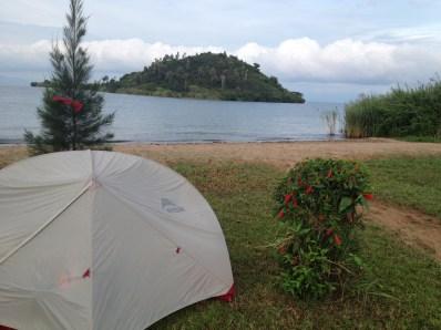 Beautiful campsite at the first Basecamp Cymbiri at Lake Kivu
