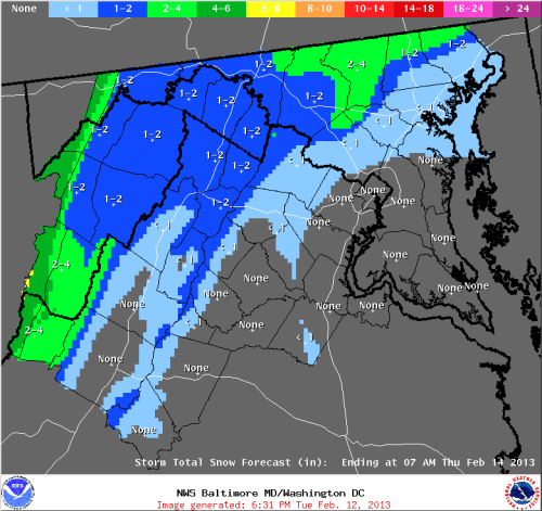Sterling, VA NWS total snow accumulation map for 2/13/13-2/14/13.