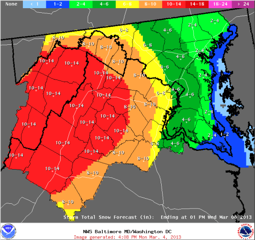 Sterling NWS snowfall accumulation forecast totals up to 1 pm Weds, valid on 3/4/2013.