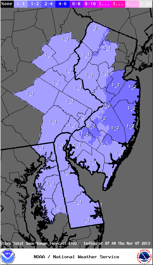 Mt. Holly, NJ NWS snowfall accumulation map valid on 03/06/2013.