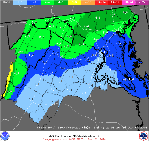 Sterling, VA NWS snowfall forecast valid for 1/2/14-1/3/14.