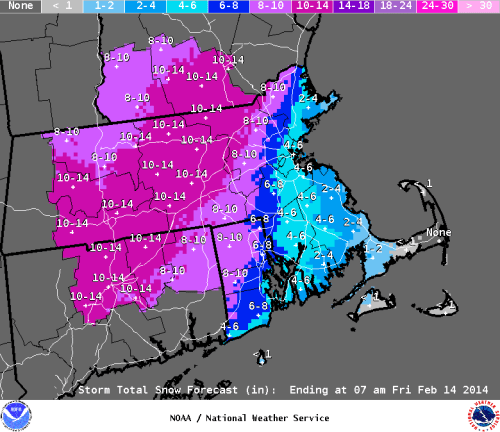 Taunton NWS snowfall forecast as of 2/11/14.