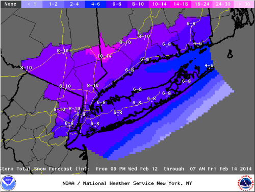 Islip NWS snowfall forecast as of 2/11/14.