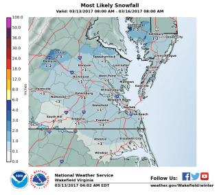 Wakefield, VA NWS WFO Snowfall Map