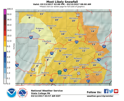 The State College, PA NWS WFO Snowfall Map