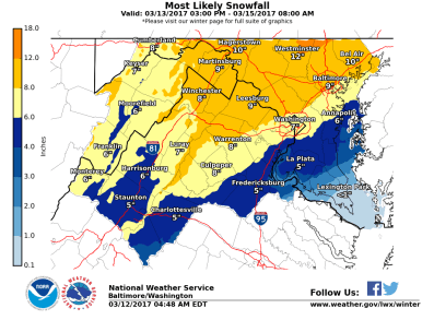 The Sterling, VA NWS WFO Snowfall Map