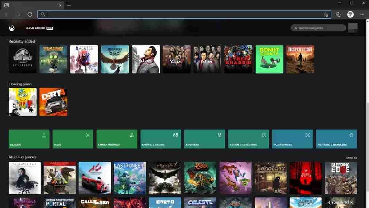 Xbox web cloud microsoft