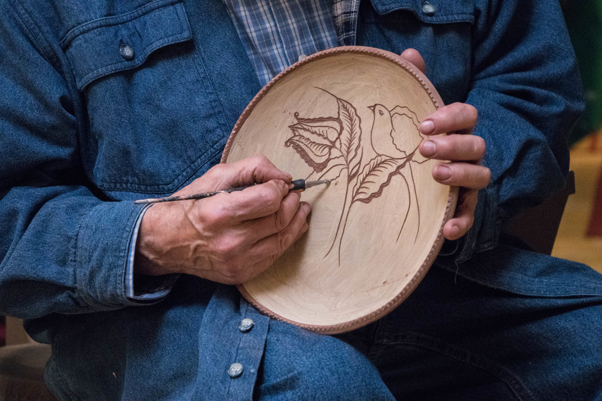2018 April Spring Redware Plate Sgraffito Workshop