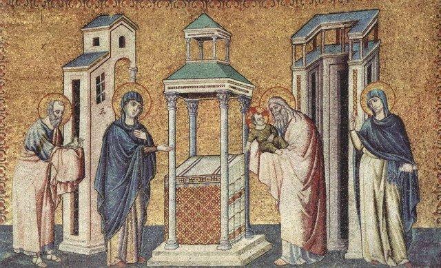 Пьетро Каваллини . «Цикл мозаик с шестью сценами из жизни Марии в церкви Санта Мария в Трастевере в Риме, Сретение»