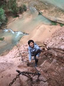 Climbing down to the falls