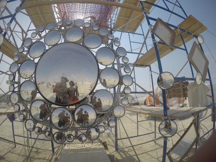 Cool mirror installation. Clearly the playa dust got to it so it's less on the useful side. Less useful, but still cool.