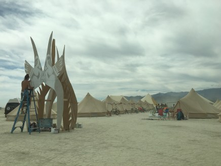 On the Sunday, many camps were stilling setting up their stuff
