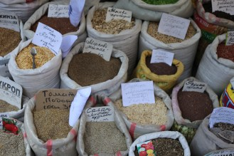 Spice section in the market