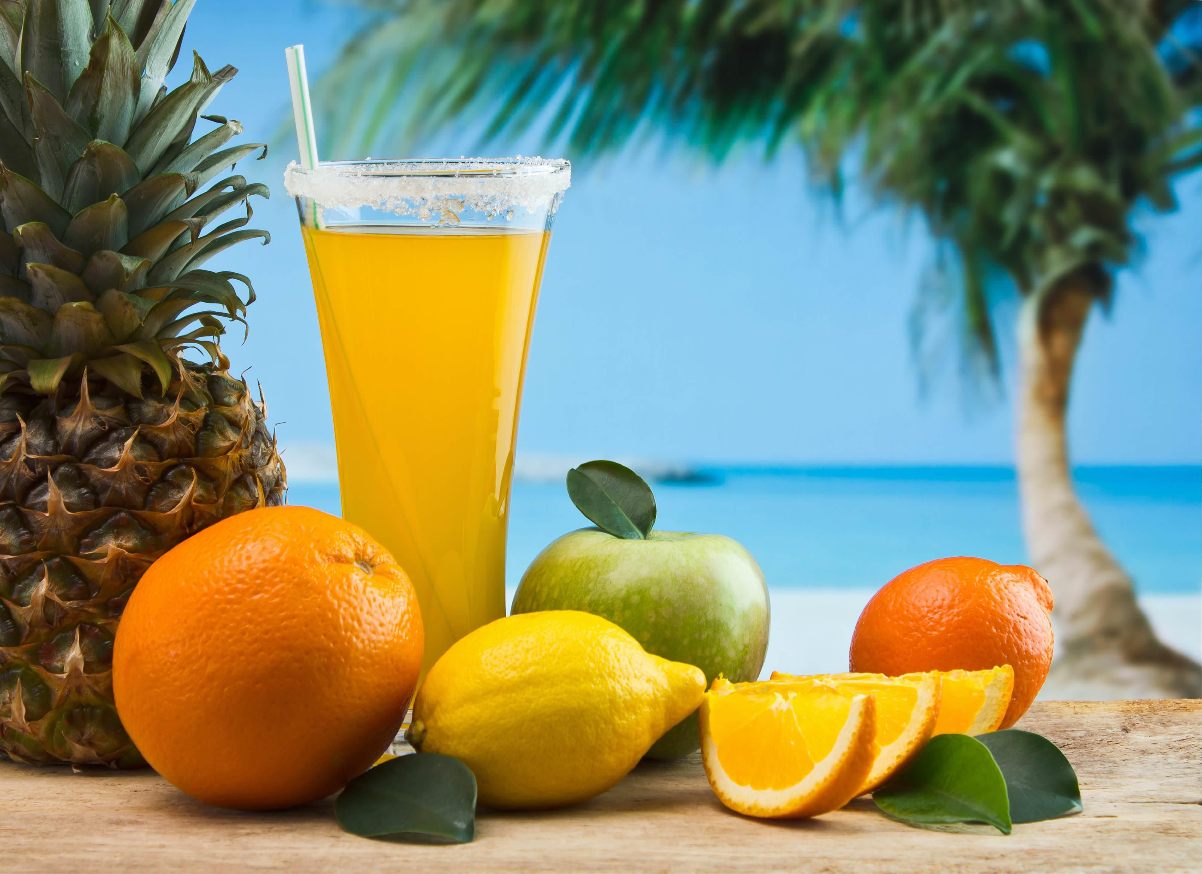 Картинка лето отдых экзотика фрукты пляж океан пальма обои ...