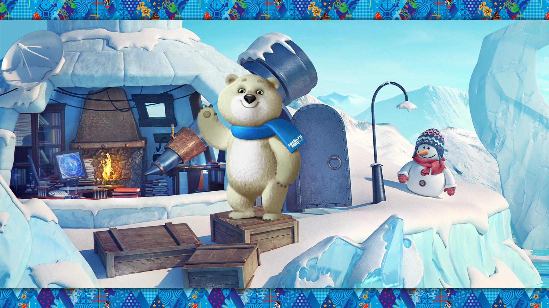 Обои Олимпиада 2014 в Сочи, Зима, Олимпийский мишка на ...